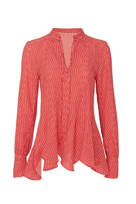Red Bone V-Neck Blouse by Derek Lam Collective