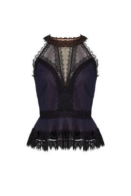 Lace Peplum Top by Marchesa Notte