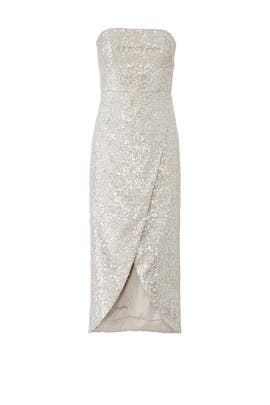 Sequin Faux Wrap Dress by ML Monique Lhuillier