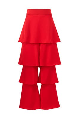 Red Felix Ruffle Trousers by Osman