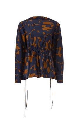 Navy Belou Print Poplin Blouse by Marni