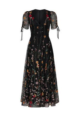 Floral Embroidered Mesh Dress by ML Monique Lhuillier