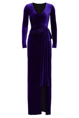 Velvet High Slit Gown by NISSA