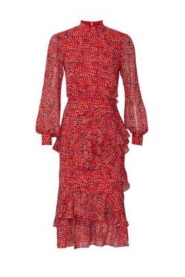 Printed Isa Ruffle Dress by SALONI