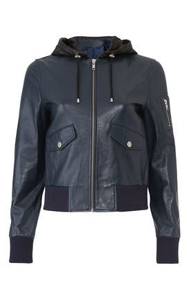 0022238ad Samantha Sipos Hooded Leather Bomber