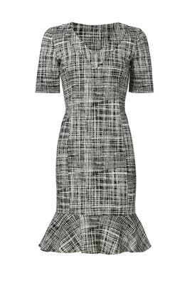 Ruffle Hem Tweed Print Dress  by BOUTIQUE MOSCHINO