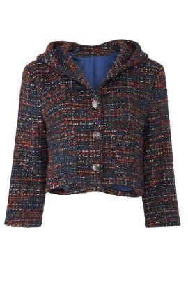 Hooded Crop Tweed Jacket by Line + Dot
