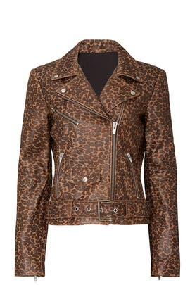 Leopard Smooth Jayne Leather Jacket by VEDA