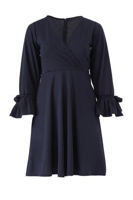 Navy Fit and Flare Dress by LOST INK