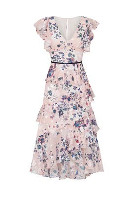 fa63b786452196 Pink Floral Flutter Dress by Marchesa Notte