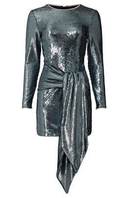 Gunmetal Front Tie Sequin Dress by Toccin
