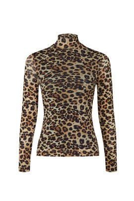 Leopard Printed Mesh Top by Nicole Miller
