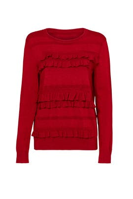 Ruby Red Bennie Ruffle Sweater by Diane von Furstenberg