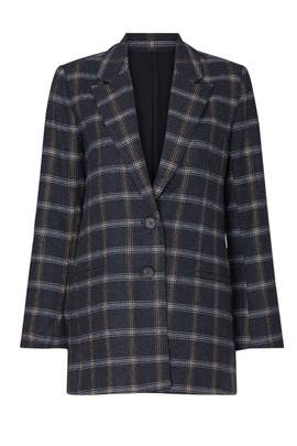 Grey Plaid Billie Blazer by Habitual