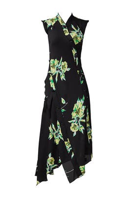 Black Floral Asymmetrical Midi Dress by Proenza Schouler