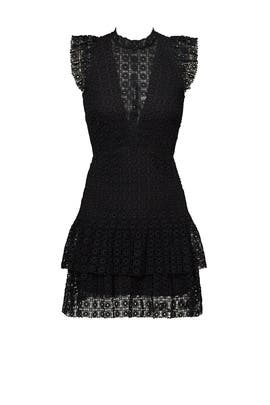 Black Foil Geo Ruffle Dress by Slate & Willow
