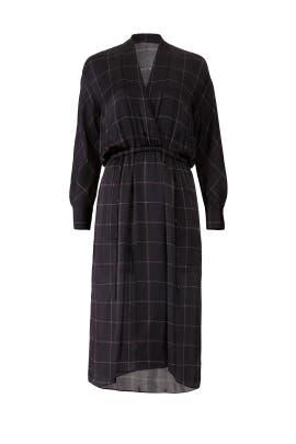 Grid Plaid Faux Wrap Dress by VINCE.
