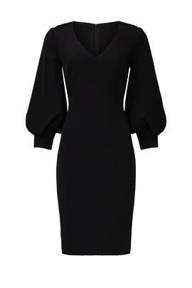 Black Bubble Sleeve Sheath by Badgley Mischka