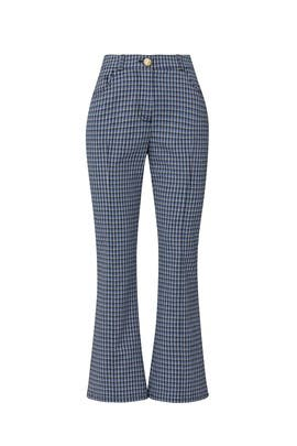 Blue Check Cropped Flare Trousers by Derek Lam 10 Crosby