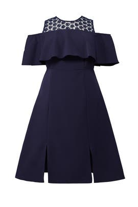 Navy Cold Shoulder Ruffle Dress by ELOQUII
