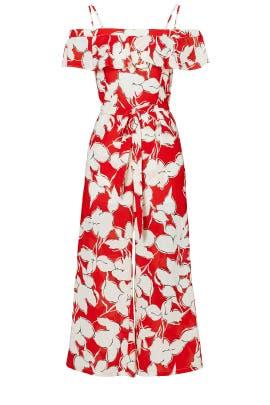 Red Floral Off Shoulder Jumpsuit by J.O.A.