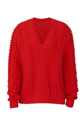 Red Cableknit Wool Sweater by Jason Wu