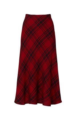Red Plaid Midi Skirt by Lauren Ralph Lauren