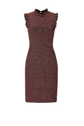 Red Sleeveless Tweed Dress by Rebecca Taylor
