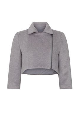 Grey Cropped Moto Jacket by Toccin
