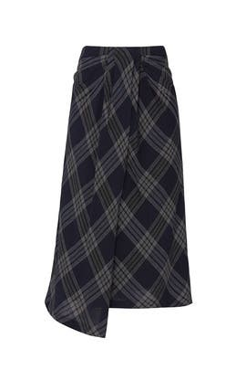 Textured Plaid Drape Skirt by VINCE.