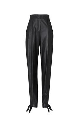 Black Vegan Leather Tie Pants by Rebecca Taylor