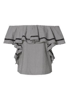 Striped Ruffle Off Shoulder Top by Rachel Zoe