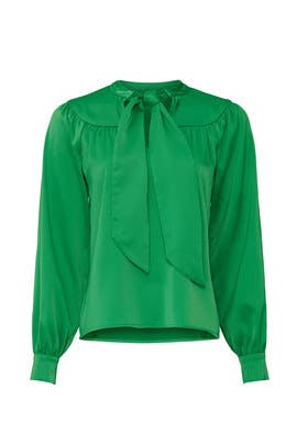 Green Tie Neck Blouse by Sweet Baby Jamie