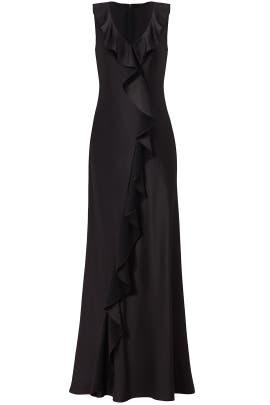 Black Ruffled Gown by Aidan Mattox
