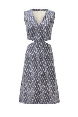 Sateen Jacquard Cutout Dress by Tory Burch