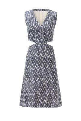 Sateen Jacquard Cutout Dress by Tory Burch