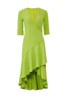 Lime Flutter Hem Dress by Badgley Mischka