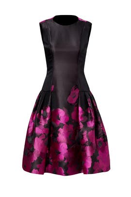Magenta Blossom Black Dress by Carmen Marc Valvo
