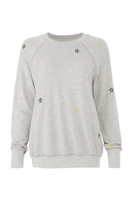Embroidered Stars Sweatshirt by Sundry