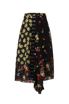 Asymmetrical Mixed Print Skirt by DEREK LAM
