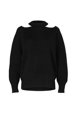 Black Cold Shoulder High Neck Sweater by Jason Wu Collective