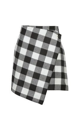 Plaid Asymmetric Wrap Skirt by Milly