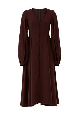Burgundy Button Down Dress by ADEAM
