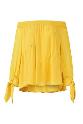 Yellow Off Shoulder Top by DEREK LAM