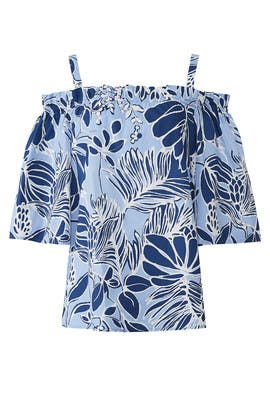 Leaf Print Off The Shoulder Top by N Natori