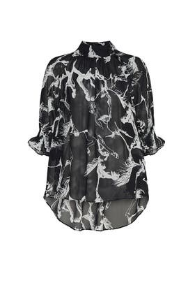 Black Sheer Printed Blouse by Adam Lippes Collective