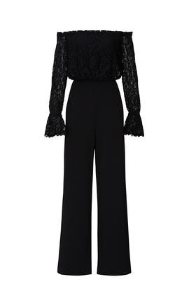 Black Lace Off Shoulder Jumpsuit by Adrianna Papell