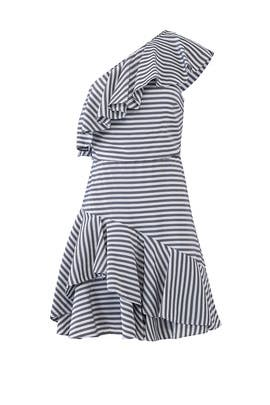 Grey Stripe Ruffle Dress by HALSTON