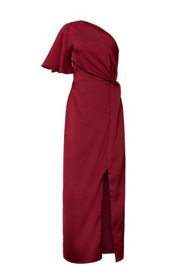 Plum One Shoulder Satin Gown by Harlyn