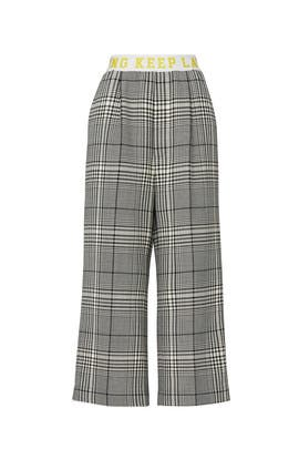 Plaid Printed Wide Leg Pants by Mira Mikati